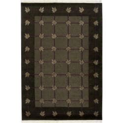 Hand-knotted Mandara Geometric Green New Zealand Wool Rug (6' x 9')