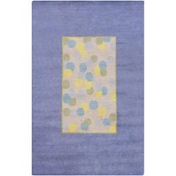 Hand-knotted Mandara Border Blue New Zealand Wool Rug (6' x 9')
