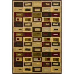 Hand-knotted Mandara Geometric Gold New Zealand Wool Rug (