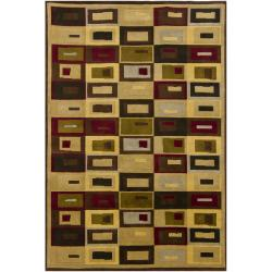 Hand-knotted Mandara Geometric Gold New Zealand Wool Rug (
