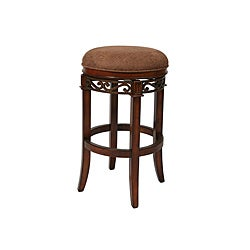 Carmel 30-inch Cosmo Sepia Backless Swivel Wood Bar Stool