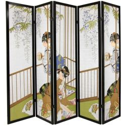 Wood and Rice Paper 6-foot 5-panel Geisha Shoji Screen (China)
