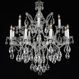 Maria Theresa 13-light 2-tier Matte Silver/ Crystal Chandelier