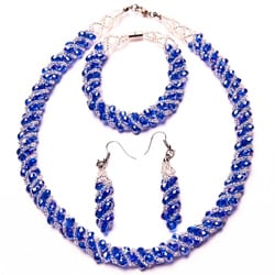 Blue-colored Crystal Twirl Jewelry Set
