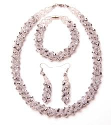 Silver-colored Crystal Twirl Jewelry Set