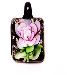 Murano-inspired Glass Pink Flower Rectangle Pendant
