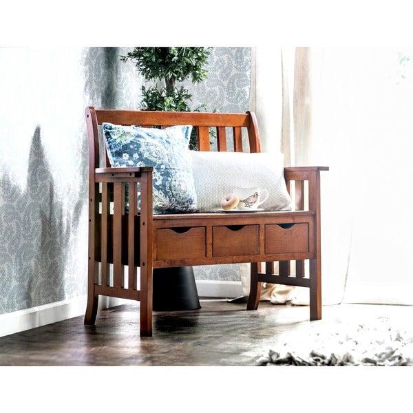 Furniture of America Country Garden Storage Bench
