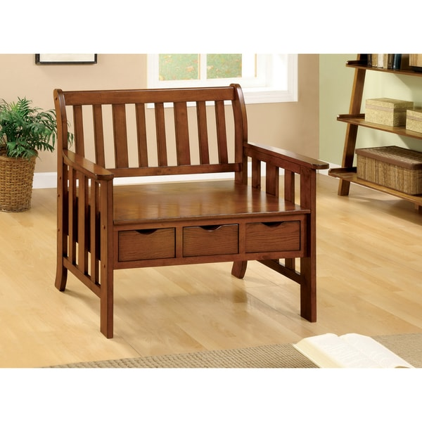 Furniture of America Country Garden Storage Bench
