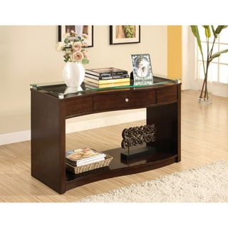 Furniture of America Brook Glass-top Espresso Console Table