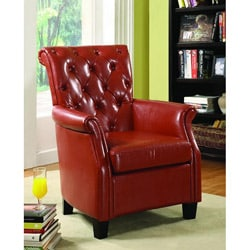 Carter Red Bicast Leather Accent Chair