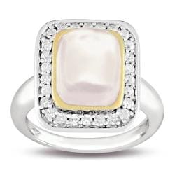 New York Gems Sterling Silver Pink Quartz and White Cubic Zirconia Fashion Ring