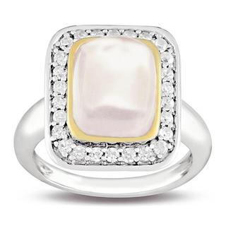 Gems Sterling Silver Pink Quartz and White Cubic Zirconia Fashion Ring