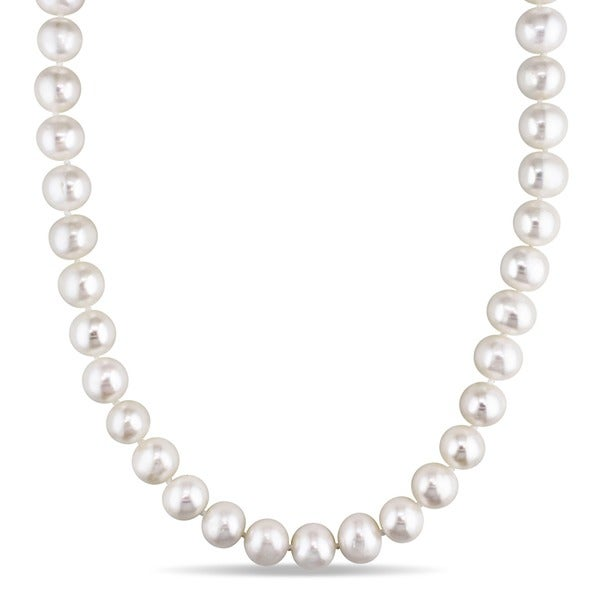 Miadora Sterling Silver Cultured Freshwater Pearl 36-inch Necklace (10-11 mm)