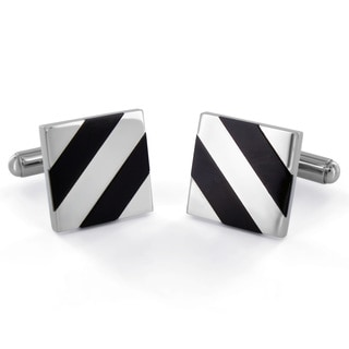 West Coast Jewelry Stainless Steel Black Onyx Diagonal Inlay Cuff Links