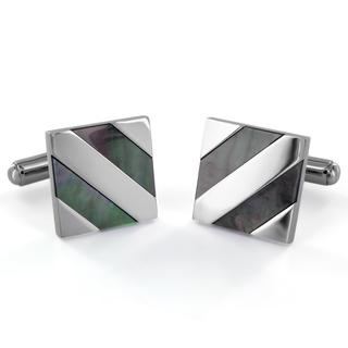West Coast Jewelry Stainless Steel Abalone Shell Diagonal Inlay Cuff Links
