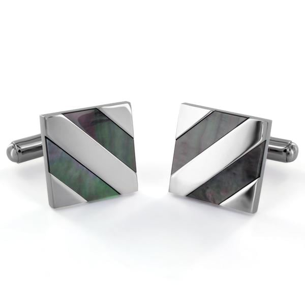 Stainless Steel Abalone Shell Diagonal Inlay Cuff Links