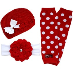 Headbandz Red/ White 5-piece Baby Accessory Pack