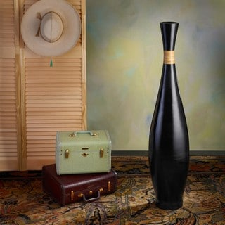 Resin and Rattan Black Trumpet Floor Vase (Indonesia)