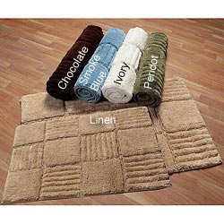 Checks Collection Cotton 2-piece Bath Rug Set | Overstock.com ...
