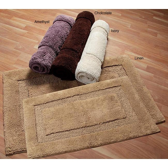 Nuevo Collection Cotton Non-skid Latex Backing 2-piece Bath Rug Set