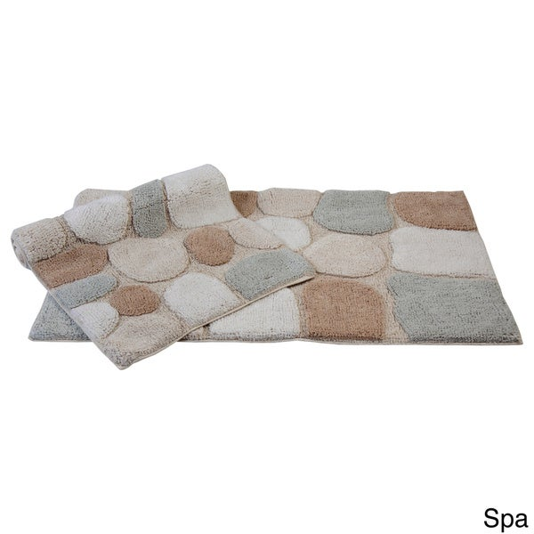rockway collection cotton non skid stone design 2 piece bath rug set