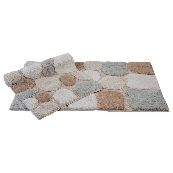 Rockway Collection Cotton Non Skid Stone Design 2 Piece Bath Rug Set