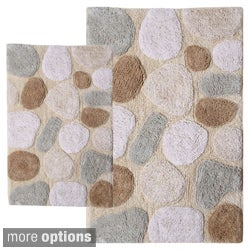 Rockway Collection Cotton Non-Skid Stone Design 2-piece Bath Rug Set