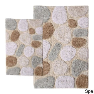 Rockway Collection Cotton Non-Skid Stone Design Bath Rugs (Set of 2)