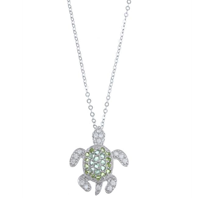 La Preciosa Sterling Silver Green Cubic Zirconia Turtle Necklace