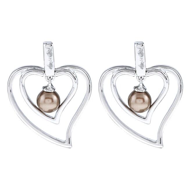 La Preciosa Sterling Silver Chocolate FW Pearl Heart Earrings (5 mm)