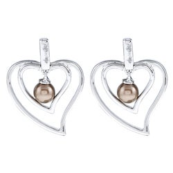 La Preciosa Sterling Silver Chocolate FW Pearl Heart Earrings (5 mm)