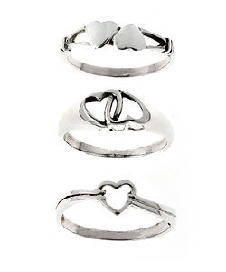 Tressa Sterling Silver Heart Three-ring Set