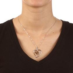 La Preciosa Sterling Silver Chocolate FW Pearl Heart Necklace (8 mm)