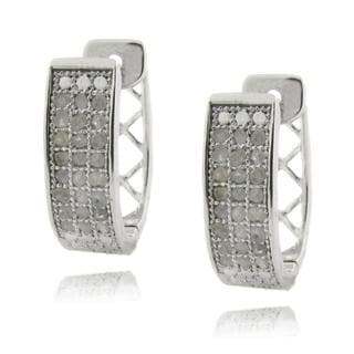 Finesque Sterling Silver 1/2ct TDW Diamond Pave Hoop Earrings