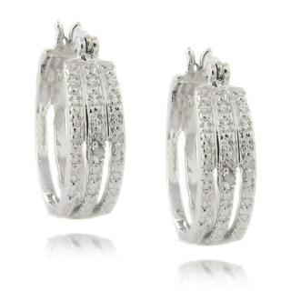 Finesque Sterling Silver Diamond Accent Triple Hoop Earrings