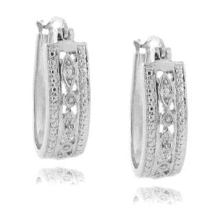 Finesque Sterling Silver Diamond Accent Marquise Design Hoop Earrings