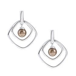 La Preciosa Sterling Silver Chocolate FW Pearl Square Earrings (5 mm)