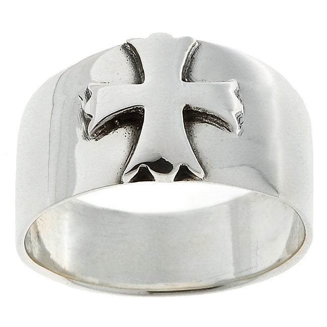 Journee Sterling Silver Antiqued Cross Ring