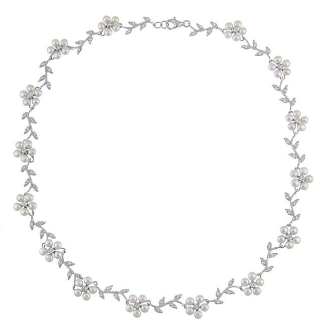 La Preciosa Sterling Silver FW Pearl and CZ Flower Necklace (3 mm)