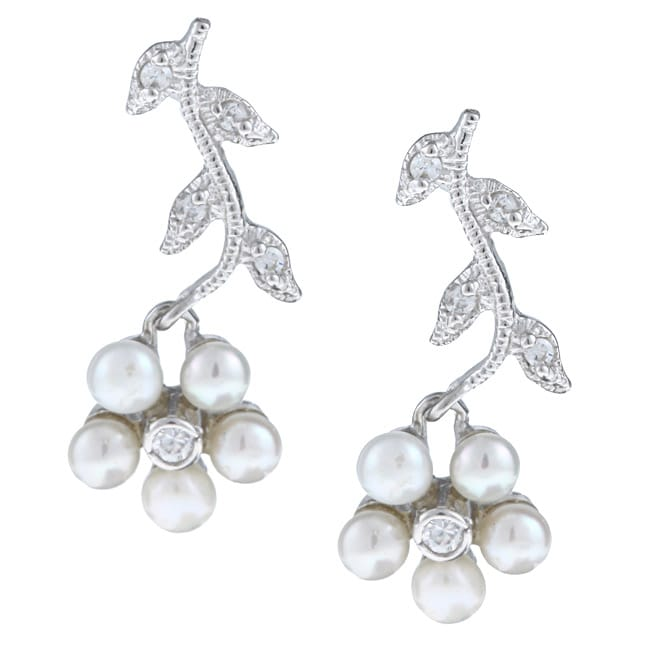 La Preciosa Sterling Silver Pearl and CZ Flower Earrings (3.5 mm)
