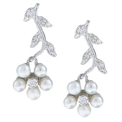 La Preciosa Sterling Silver Pearl and CZ Flower Earrings (3.5 mm)
