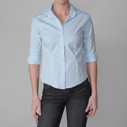 Journee Collection Women's Sky-Blue 3/4-Sleeve Blouse