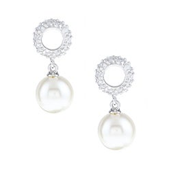 La Preciosa Sterling Silver Faux Pearl and Cubic Zirconia Earrings