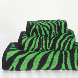 Lime Zebra Cotton 3-piece Towel Set