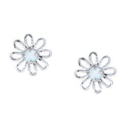 La Preciosa Sterling Silver Created Opal Flower Earrings