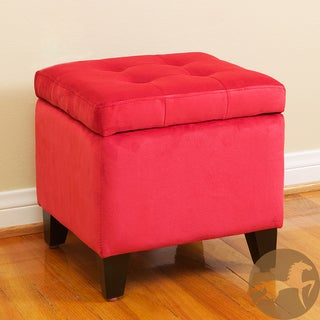 Tufted Red Microfiber Storage Ottoman