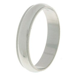 14k White Gold Women's Milligrain 4-mm Wedding Band