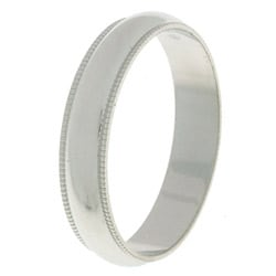 14k White Gold Men's Milligrain 4-mm Wedding Band