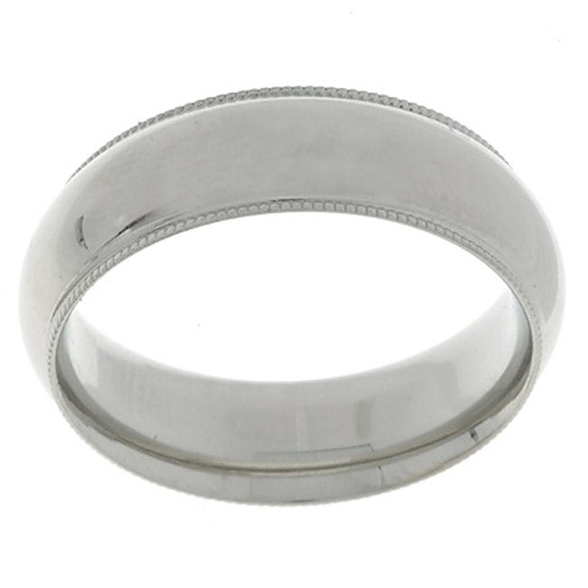 14k White Gold Mens Milligrain 6 Mm Wedding Band