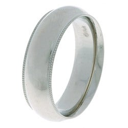 14k White Gold Men's Milligrain 6-mm Wedding Band